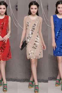 Fashion Women's Sequins Decoration Special Design Evening Party Slim A-line Dress