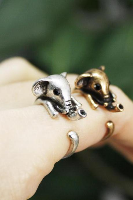 Cute Baby Elphant Adjustable Wrap Ring