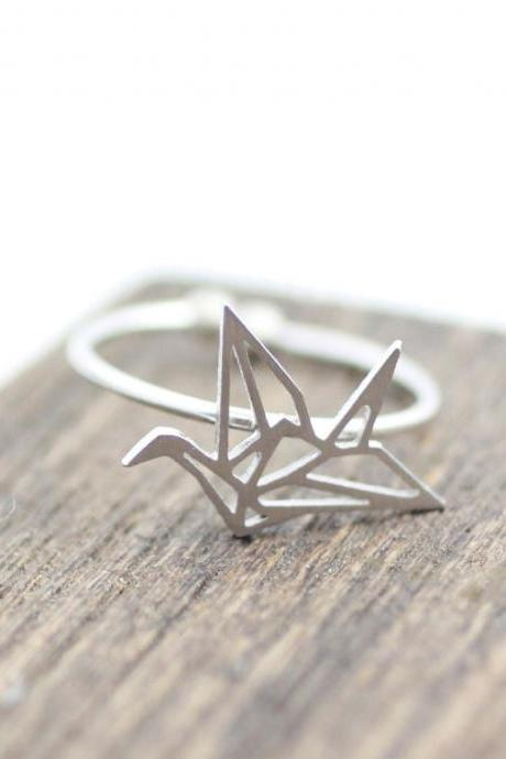 Origami Crane adjustable ring in matte Silver
