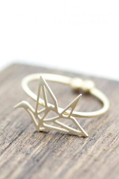 Origami Crane adjustable ring in matte gold