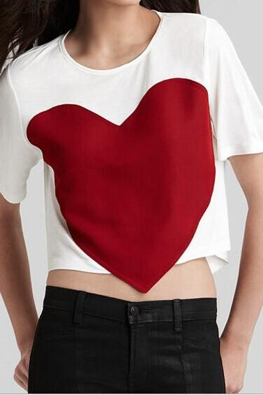 Stitching heart t-shirts BA721CD