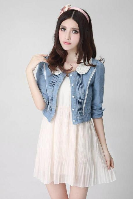 Pearl collar slim party denim coat for women