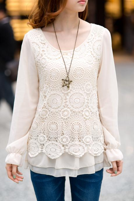 Embroidered long sleeve shirts lace bottoming shirt