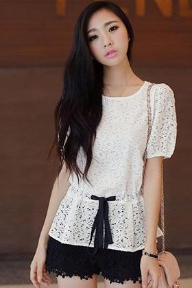 Drawstring round neck short sleeve lace tops