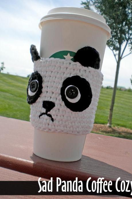 Sad Panda Coffee Cozy Crochet Pattern