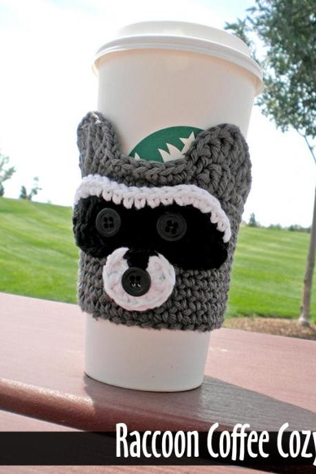Raccoon Coffee Cozy Crochet Pattern