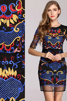 Women's national wind heavy embroidery flower totem temperament of cultivate one's morality dress