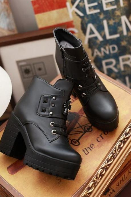 Spring Autumn Round Toe Zipper Designed Rivets Decorated Chunky Super High Heels Black PU Short Martens Boots