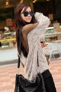 Sexy Newest Design Backless Shoulder Off Gauze Splice Fluffy Long Knitting Sweater