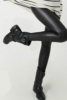 Black Faux Leather Women one size Leggings