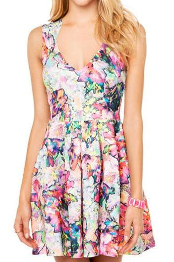 Beautiful Floral Sleeveless Woman A Line Dress
