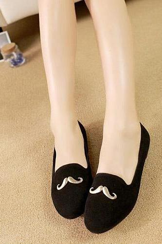 Fashion Round Toe Basic Low Heel Black Flats