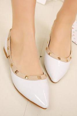 White Pointed-toe Studded Flats