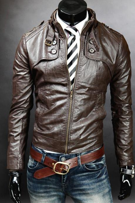 MEN DOUBLE BUTTON SLIM FIT LEATHER JACKET,MEN JACKETS, BIKER LEATHER JACKET