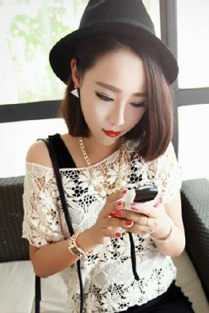 Lace Cute White O-Neck Solid Blouse