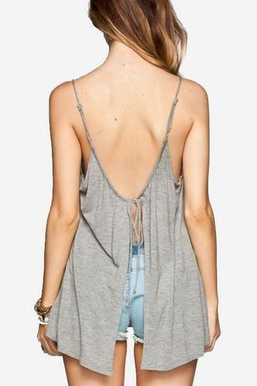 Grey Solid Vest Top