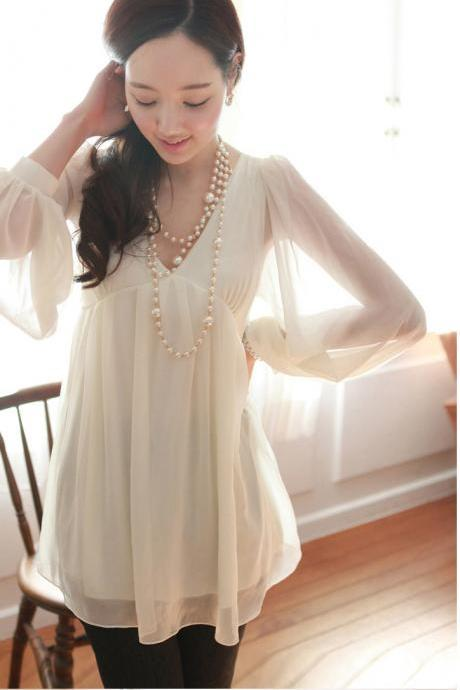 Cute Apricot V-Neck Solid Chiffon Blouse