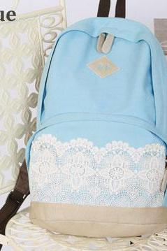 Fashion Sky Blue Lace Canvas Backpack