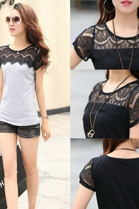 Slim Lace Carved Patchwork Lady T-shirt Tops Plus Size M-XXXL Women Tees Shirt