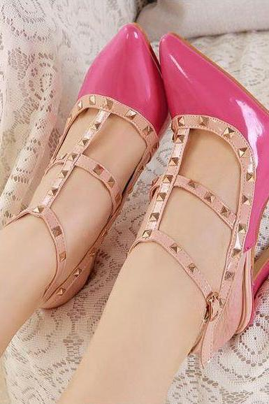 Rose Pink Rivet Design Pointed Toe High Heel Fashion Shoes
