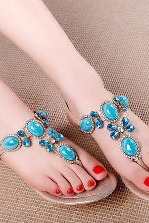 Beautiful Turquoise Beaded Sandals in Silver and Gold