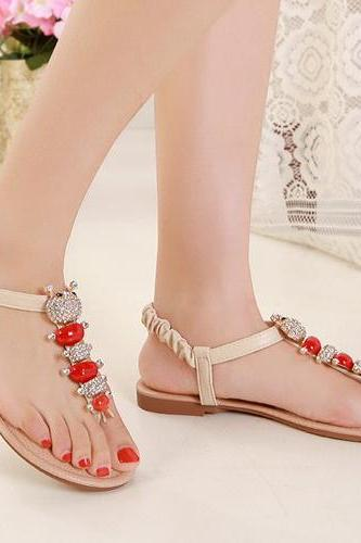 Adorable Rhinestone Design Flat Sandals in Apricot