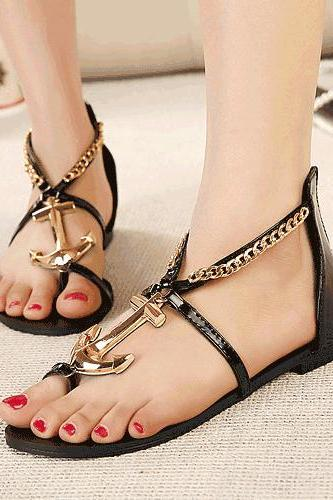 Cute Nautical Anchor Design Black Fashion Sandals