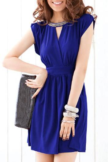 Graceful Hollow Design Cap Sleeve A Line Dress - Dark Blue
