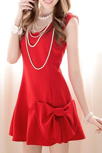 Catching Sleeveless V Neck A Line Dress - Red