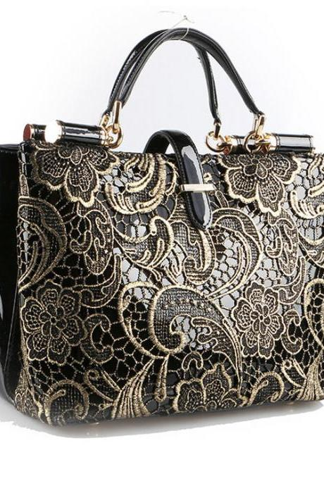 Nice Black Embroidery Lace Handbag