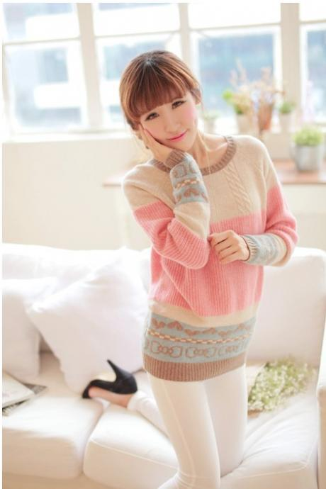 Sexy Pink O-Neck Print Worsted Sweater