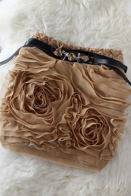 Sexy chiffon plate flower skirts package hip skirt