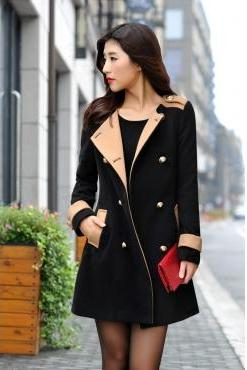 Double Breasted Long Black Wool Coat