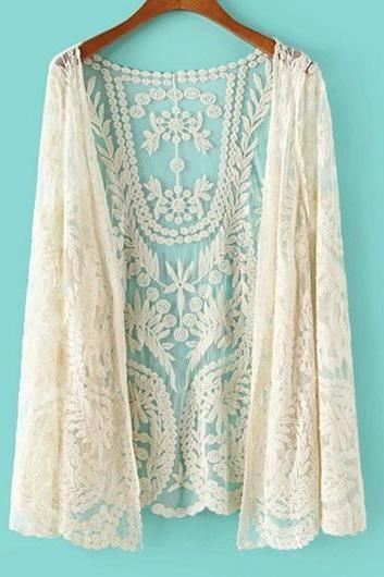 Beautiful Enchanting Long Sleeve Beige Lace Cardigans for Woman