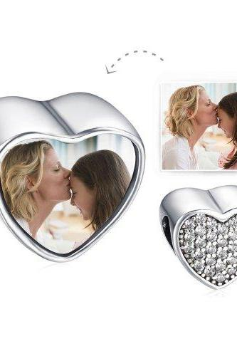 Soufeel 925 Sterling Silver DIY Your Own Photo Custom Heart with Crystals European Charms Suitable for European Style Bracelets