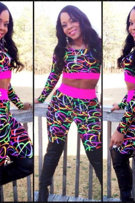 New Style Printed Skinny Polyester Jumpsuits (Top+Pants)