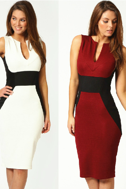 Contrast color package buttocks sleeveless v-neck OL cultivate one's morality dress pencil skirt
