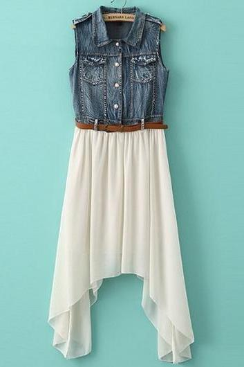 Casual And Pretty Turndown Collar Sleeveless Denim Dress with Belt - White