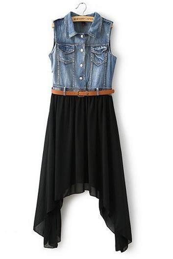 Casual And Pretty Turndown Collar Sleeveless Denim Dress with Belt - Black