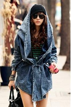 Fashion Hooded Long Sleeve Trench Blue Denim Coat