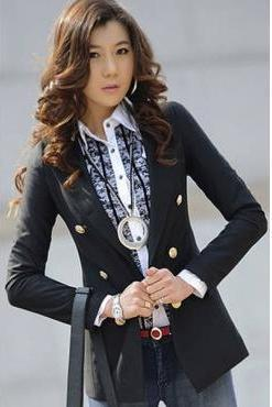 Casual Woman Slim Black Polyester Suit