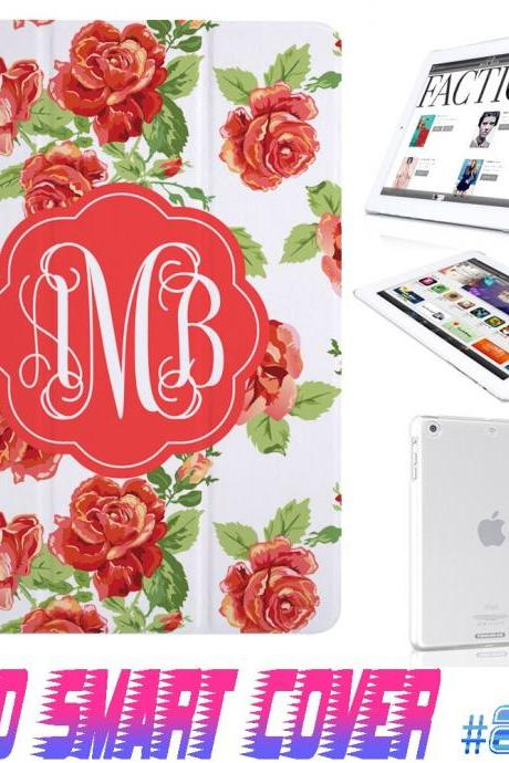 Custom Monogram Flower Floral Print @ IPad Air Smart Cover , IPad Mini Smart Cover , IPad 4 Smart Cover , IPad 3 case , ipad 2 Magnetic Sleep Wake Case #203