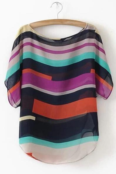 Free shipping Irregular striped chiffon short sleeve t-shirt