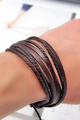 Hot Women Men Wrap Multilayer Genuine Leather Bracelet Braided rope Jewelry 2014