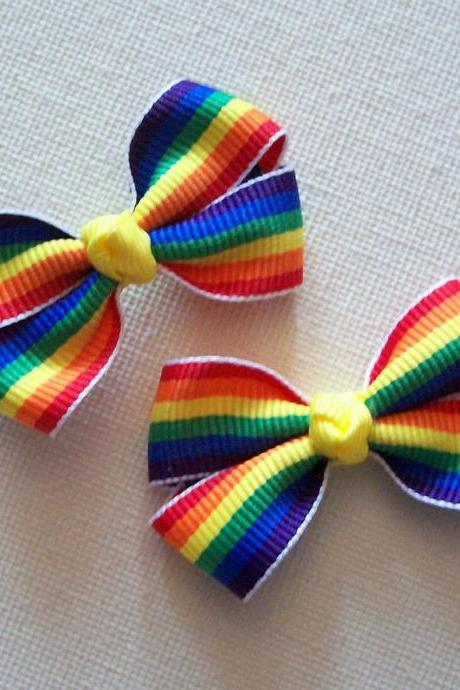 Mini Boutique Bow Pair - Rainbow