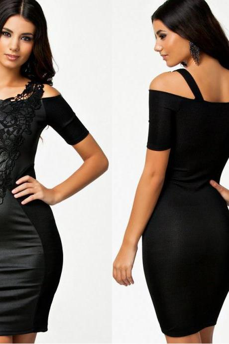 Embroidery Patchwork Black Dress Stretchy Bodycon Dresses Short Women Summer Slim Fitted Party Dress SD007