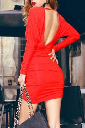 Sexy And Pretty V Neck Long Sleeve Sheath Dress - Red
