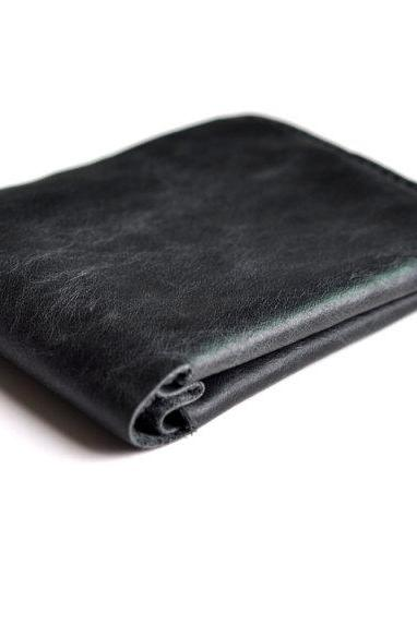Dark gray Leather Men's Wallet Slim Minimalist