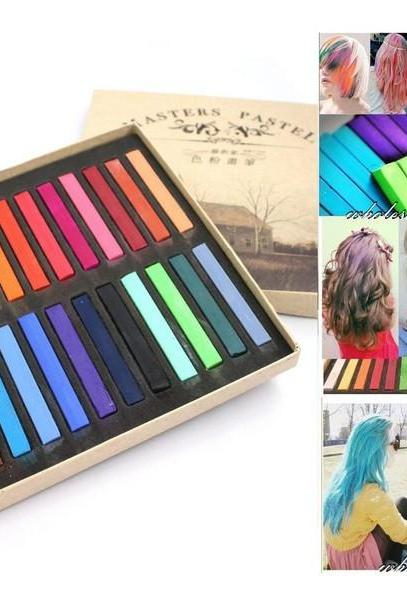 Temporary 24 pcs Colors Non-toxic Chalk for hair color Dye Soft Hair crayons Paste Kit color Pastels Stick
