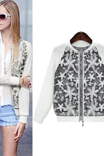Fashion O Neck Long Sleeves Zipper Designed Patchwork White Regular Coat
